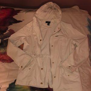 Cream Utility Jacket with Hood